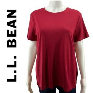 L.L. Bean Red Short Sleeve T-Shirt Top Large NEW